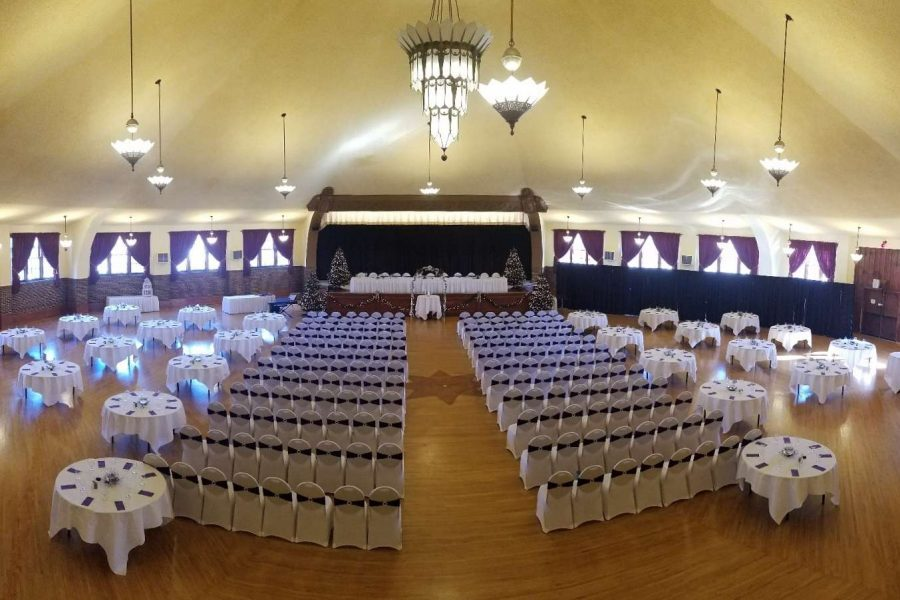 wedding ceremony set up at the historic Chandelier Ballroom in Hartford, WI