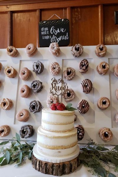 Wedding Cake and Doughnut Station at the Chandelier Ballroom in Hartford, WI