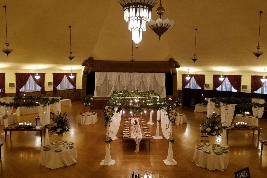 romantic head table set up at a Chandelier Ballroom wedding reception