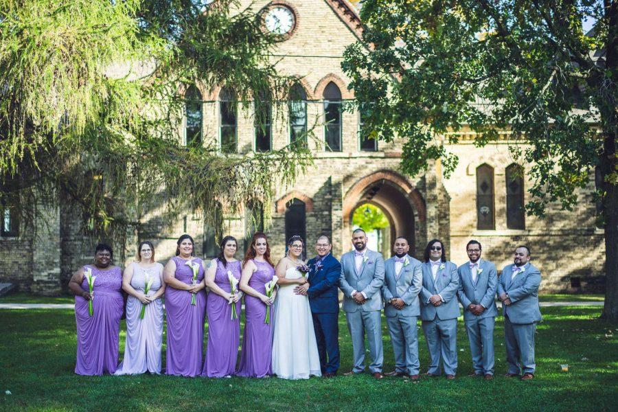 Wedding party pose at the Dekoven Center