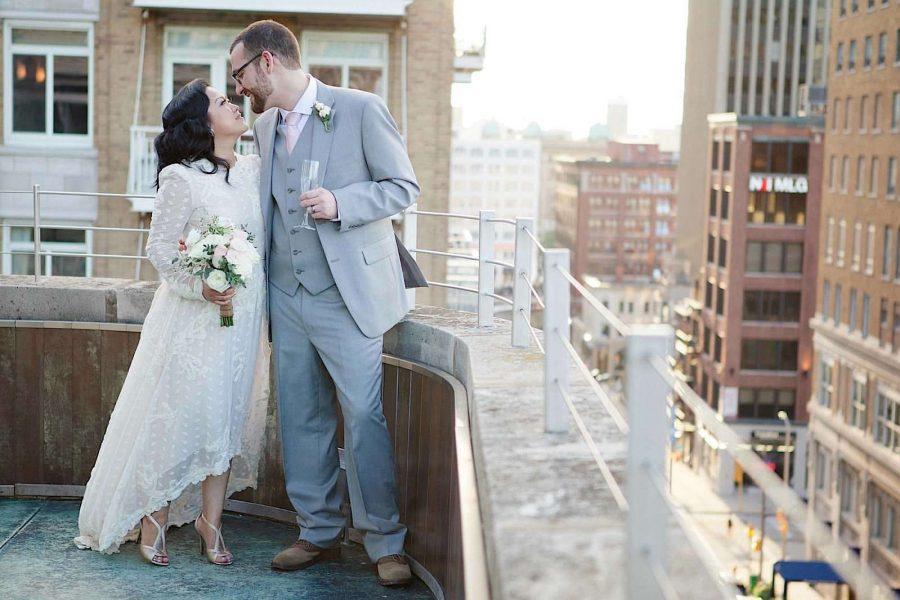Bride and Groom rooftop