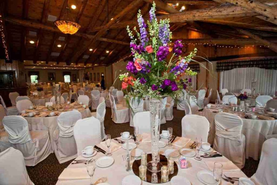 Wedding Reception at Hawks View with beautiful centerpieces