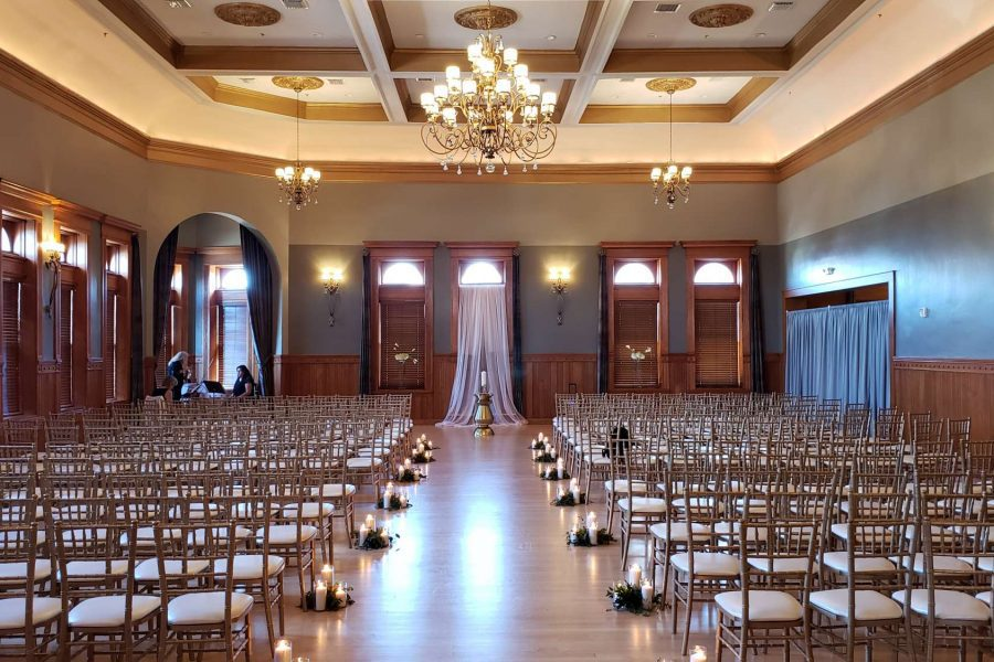 Wedding ceremony set up at the Historic Courthouse 1892