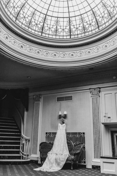 Wedding gown at the Astor Hotel
