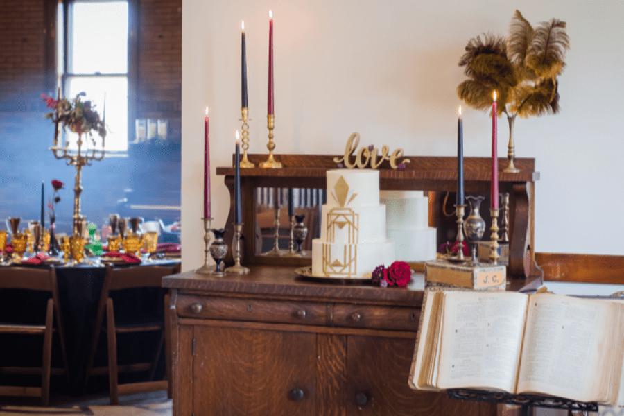 Cake table area inside Story Hill Firehouse -Weddings-Milwaukee