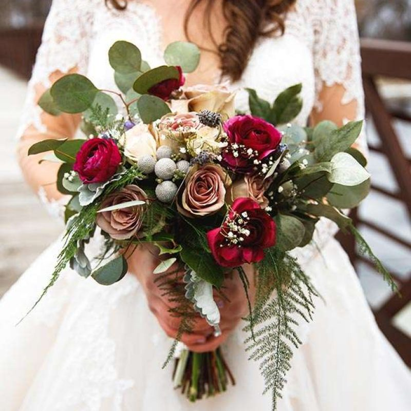 Red bridal bouquet by Bloom Lovely Floral Design