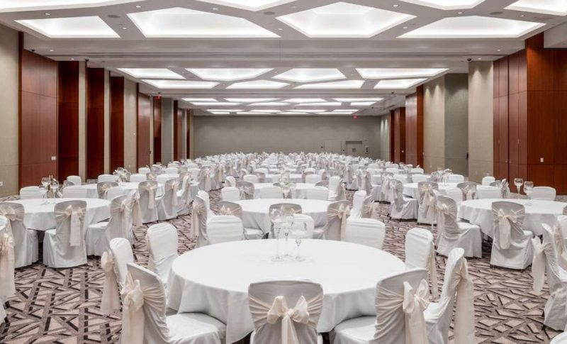 Potawatomi Hotel Beautiful legacy ballroom for wedding reception in white colors