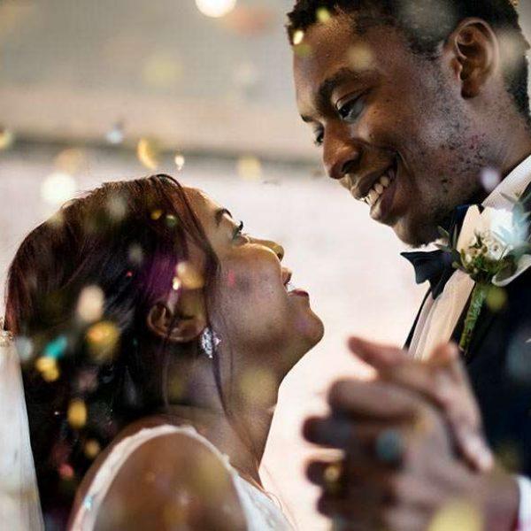 Wedding couple at Potawatomi Hotel