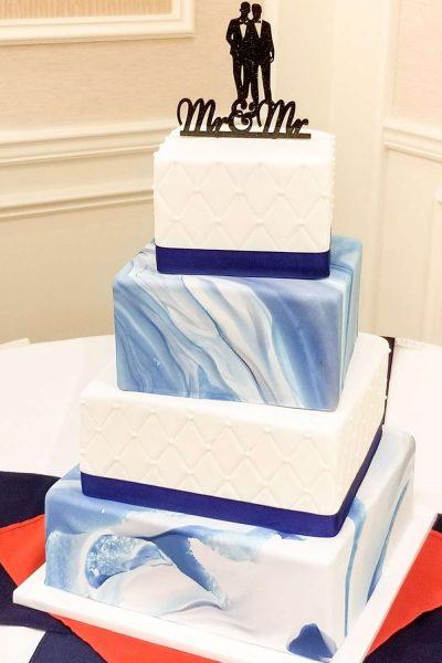 Elegant wedding cake with Mr. & Mr. topper- Sweet Perfections Bake Shoppe-Waukesha ,WI