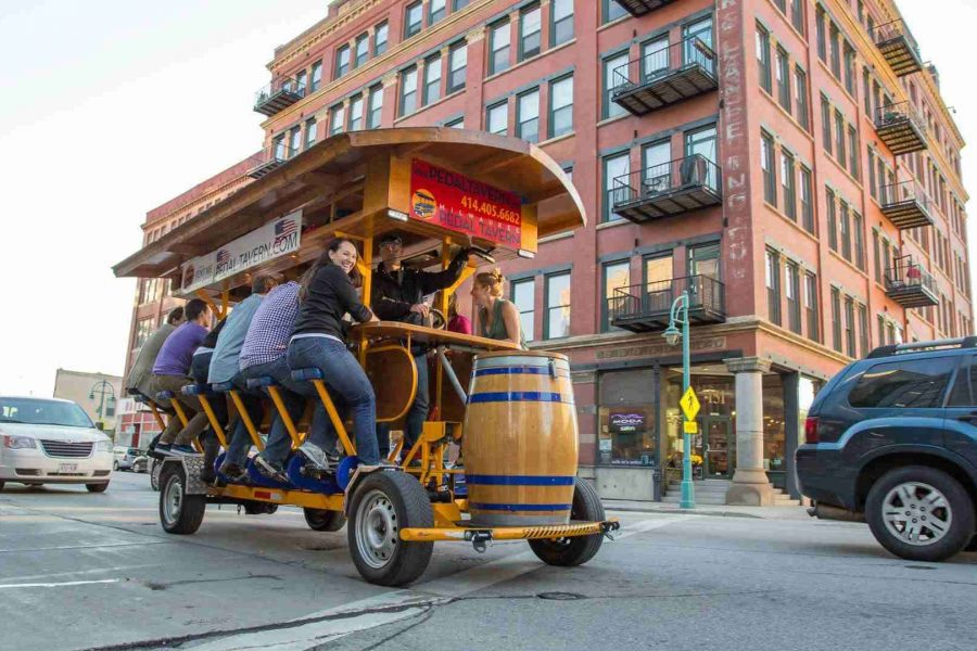 The Pedal Tavern on the move in Milwaukee