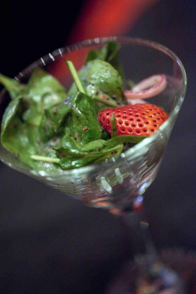 Sazama's Fine Catering salad in Champaign glass