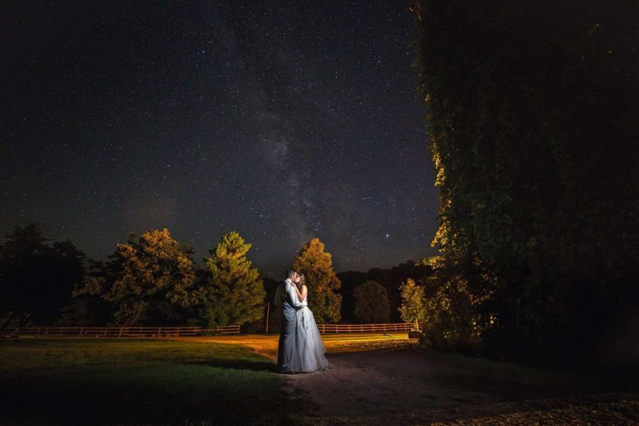 Wedding couple embrace under the stars