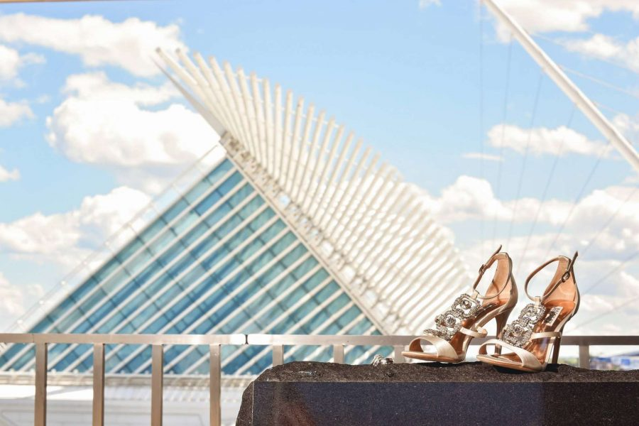 wedding shoes posed by the Milwaukee Art Museum