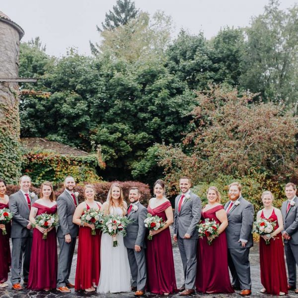 Wedding party in red and grey
