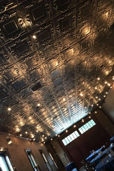 Beautiful tin ceiling at StoryHill Firehouse