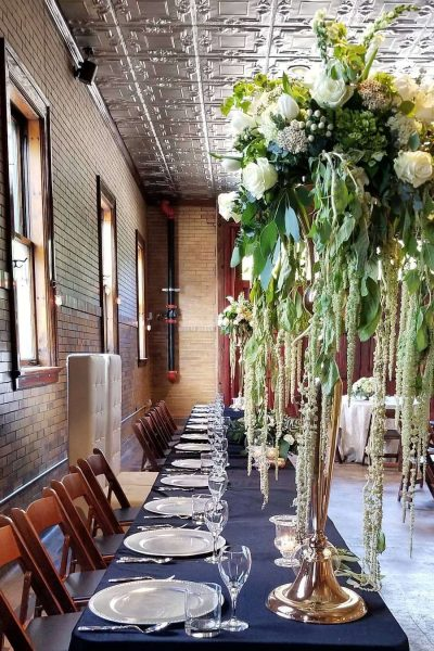 Elegant wedding reception at Story Hill Firehouse