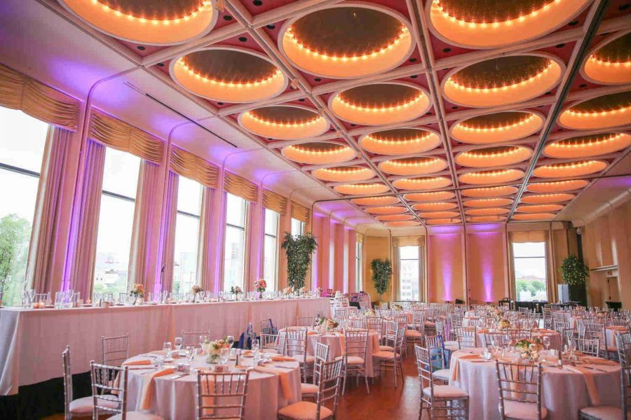 Wedding set up in Ballroom at Marcus Center for the Performing Arts