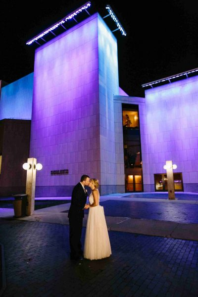 Weddiing Couple outside the Marcus Center
