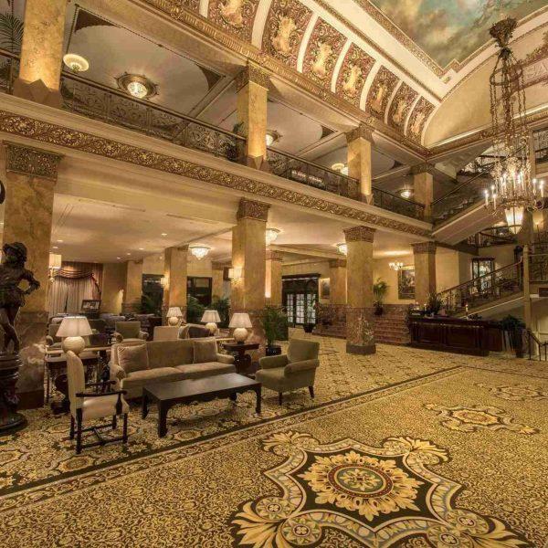 Historic lobby area of the Pfister Hotel