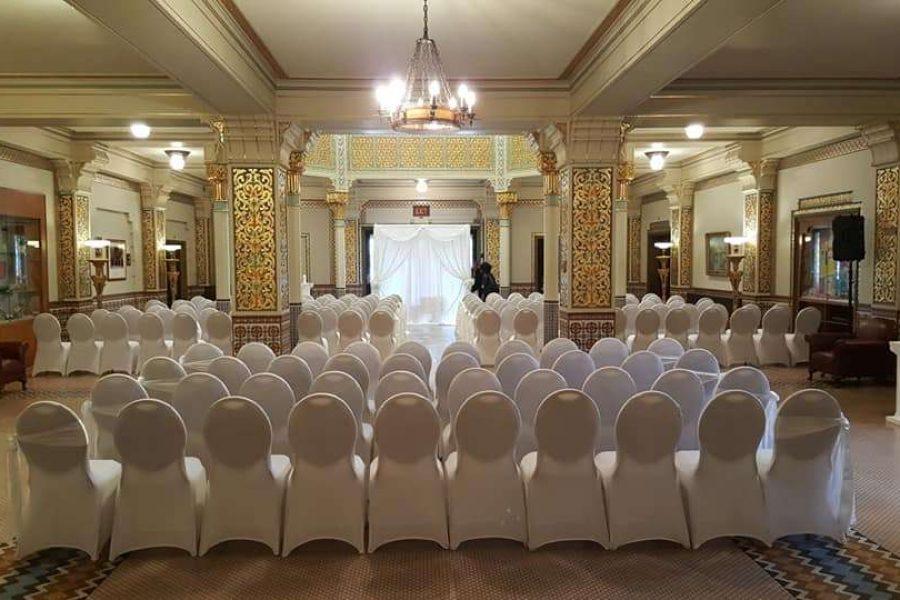 Elegant wedding ceremony at the Tripoli Shrine Center