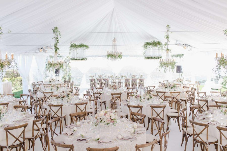 Tent wedding all in white with beechwood farmhouse x backed chairs