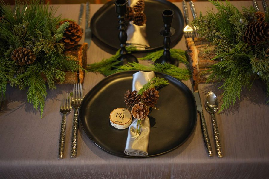 Rustic woodsy place setting by Well Dressed Tables