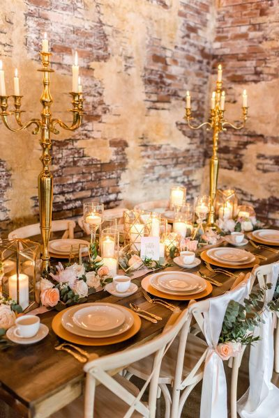 Rustic and elegant wedding table setting by Well Dressed Tables