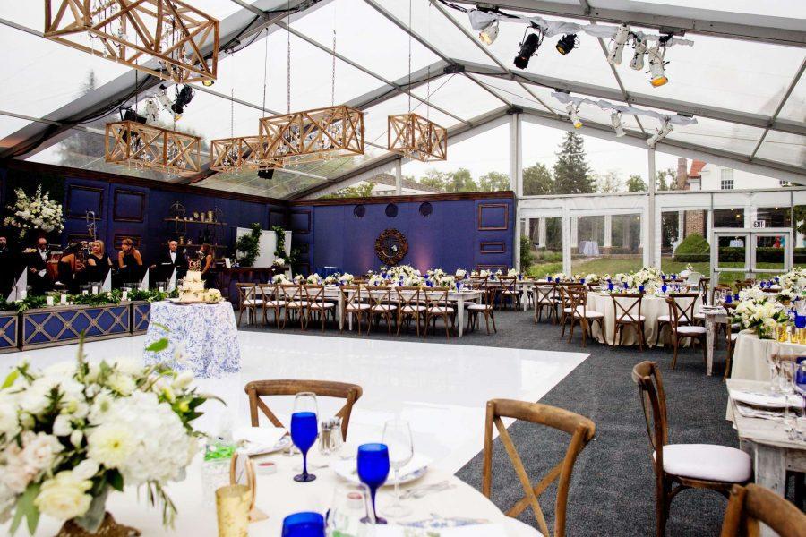 Clear tent wedding with dance floor