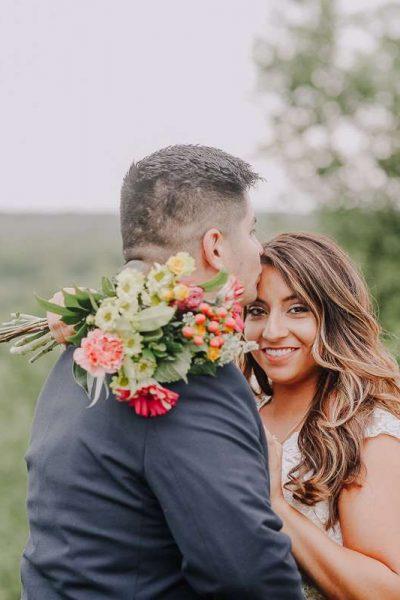 Bride with festive bouquet