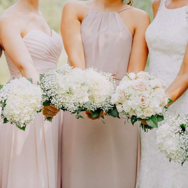 Soft hued wedding bouquets