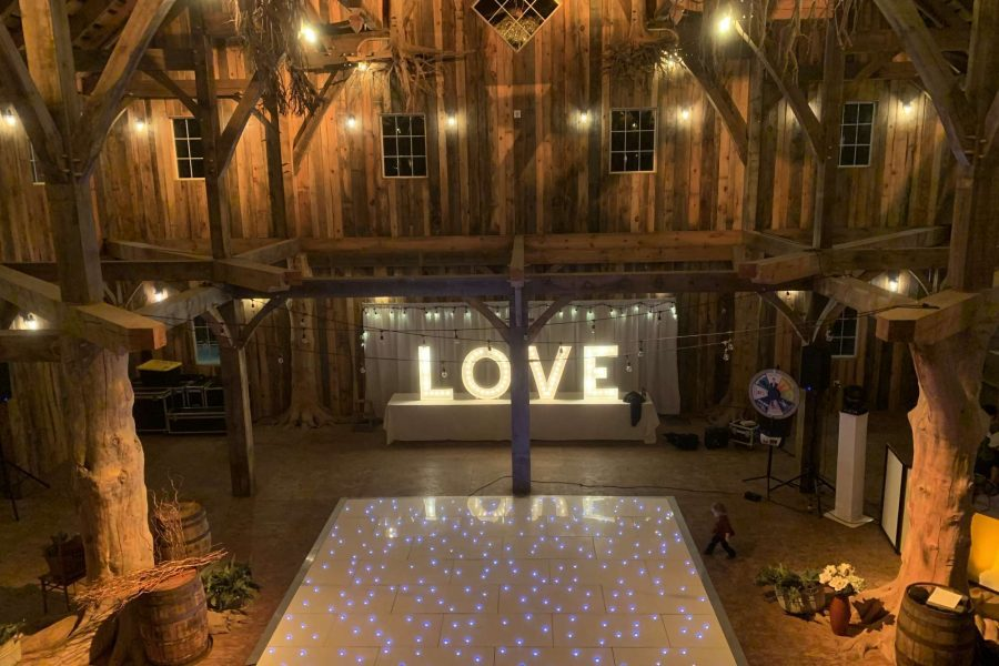 Love marquee at barn wedding by Xcite Entertainment