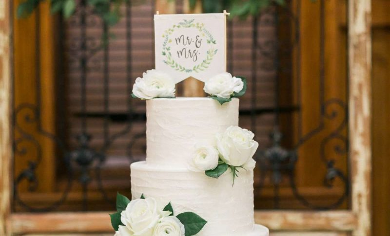 4 tiered white wedding cake by Sweet Perfections Bake Shoppe | Waukesha, WI