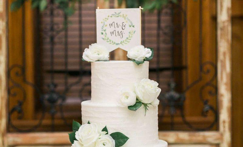 4 tiered white wedding cake by Sweet Perfections Bake Shoppe | Waukesha, WI