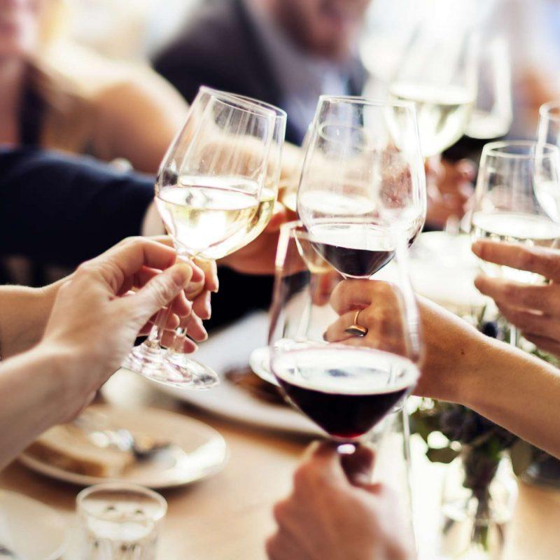 rehearsal dinner, red wine, cheers, toast