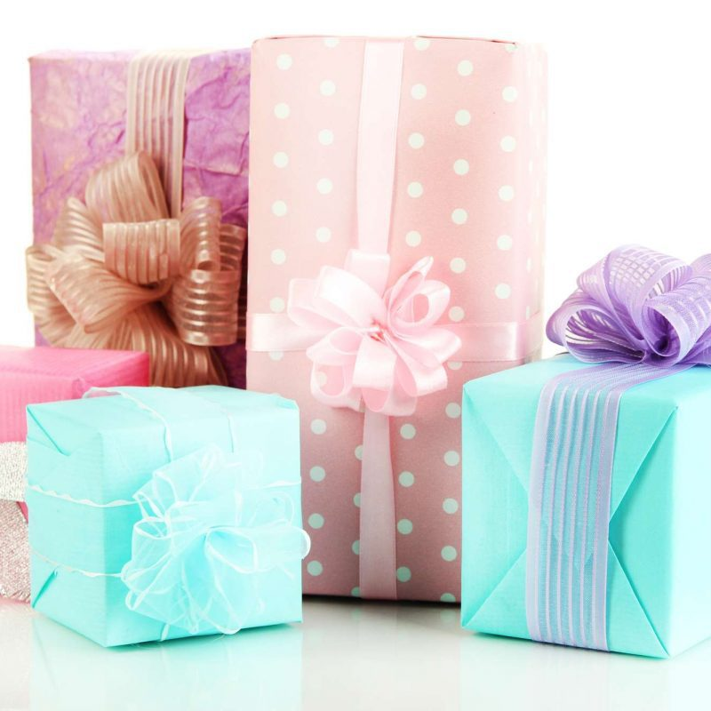 wedding gifts wrapped with bows