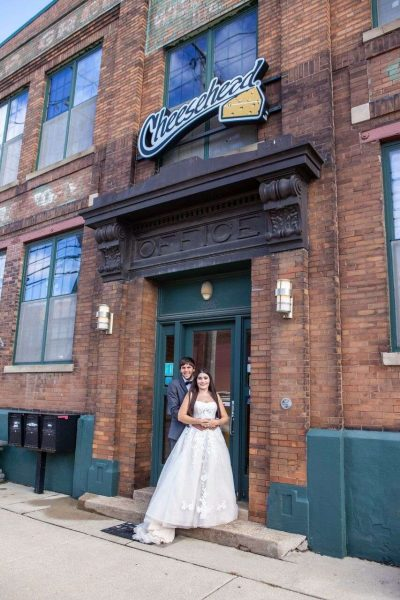 Bride and groom outside of the Factory at Barclay in Milwaukee