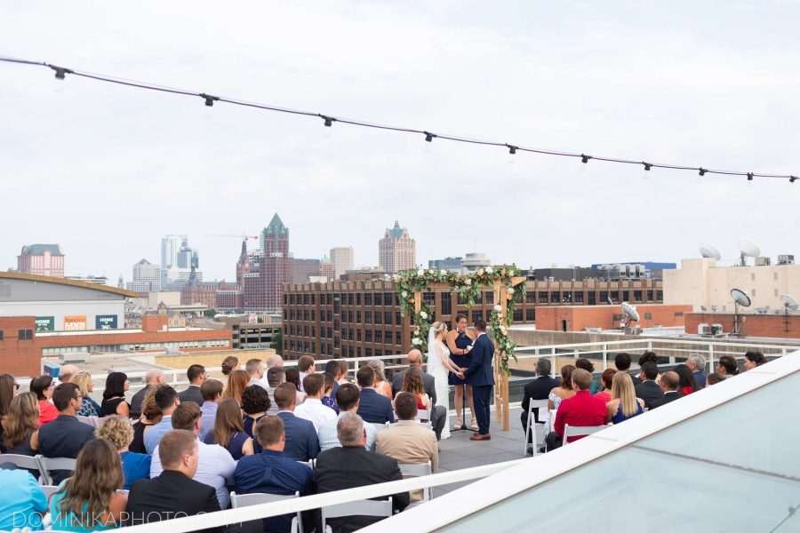 Wedding ceremony on the rooftop at Milwaukee Brewing Company