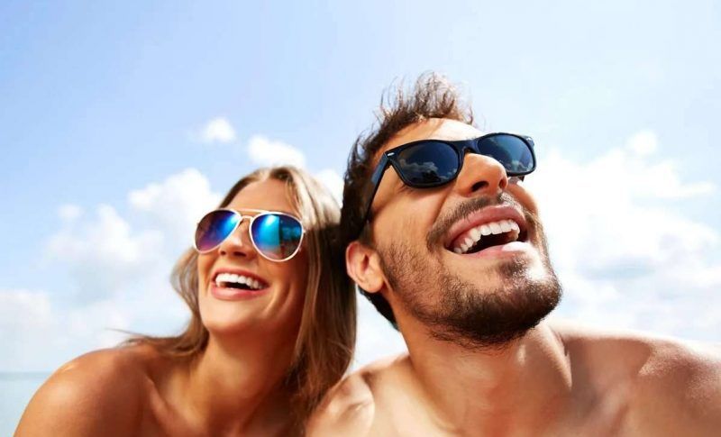 couple with beautiful smiles from teeth whitening