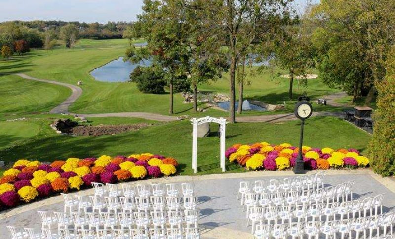 wedding ceremony set up outside at the Legend at Brandybrook
