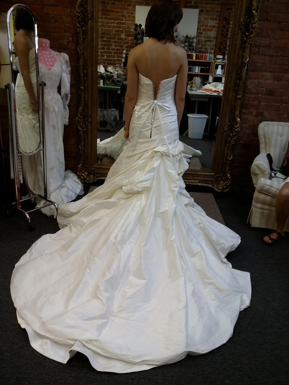 Alterations to back side of gown