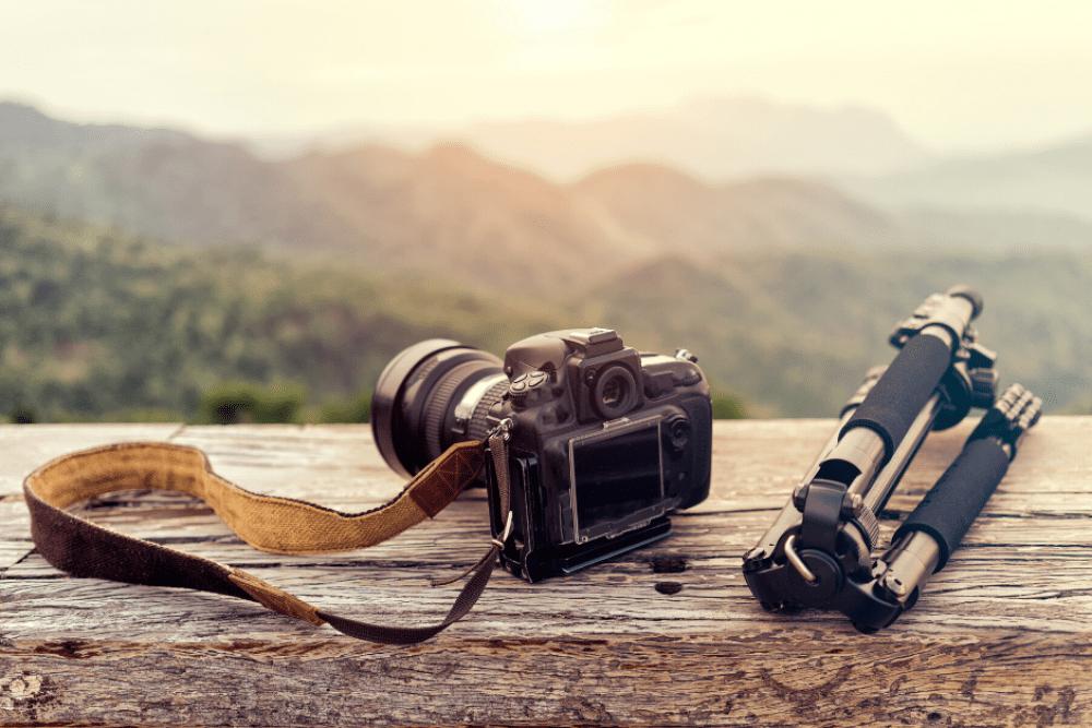 camera on ledge at sunset
