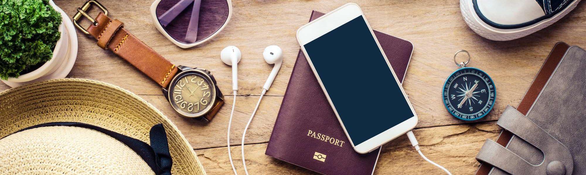 passport, ID phone, sunglasses, suitcase