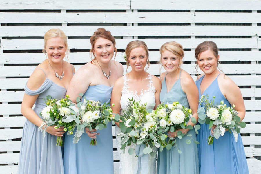 Bride with bridesmaids- hair and make-up by Mobile Beautiful