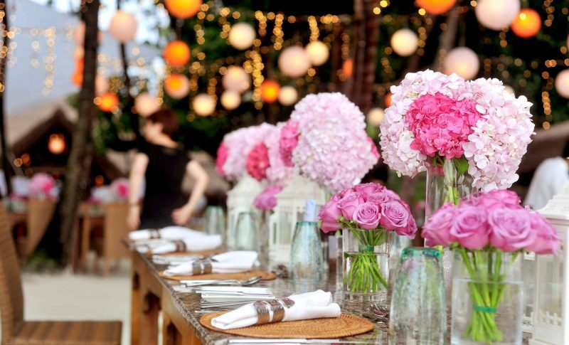 hanging lights floral table centerpieces pink