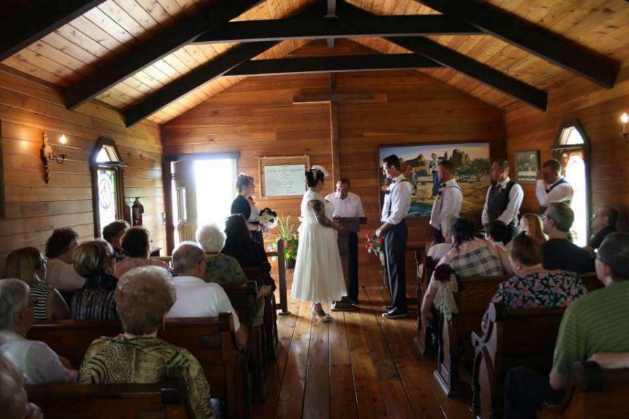 Wedding ceremony at the Kettle Moraine Ranch chapel