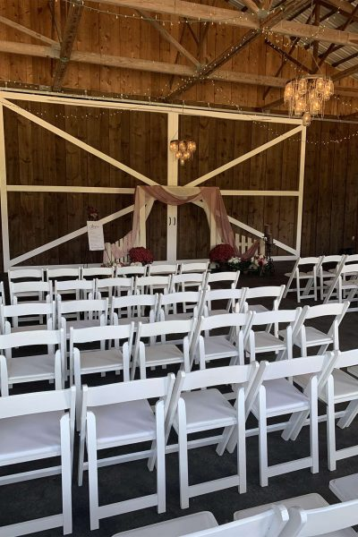 rustic barn wedding ceremony at the Kettle Moraine Ranch