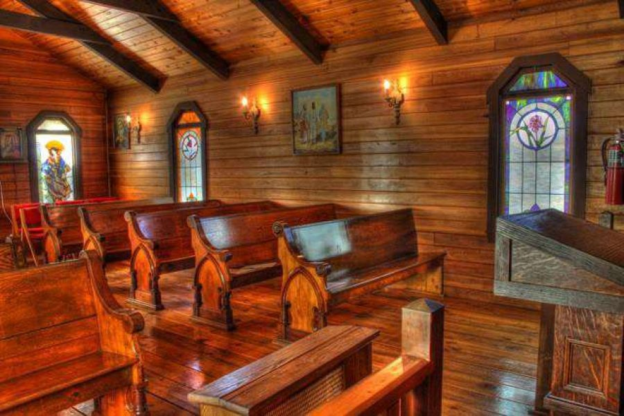 Wedding chapel interior at the Kettle Moraine Ranch