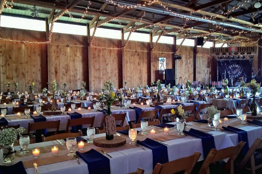 wedding reception set up at the Kettle Moraine Ranch