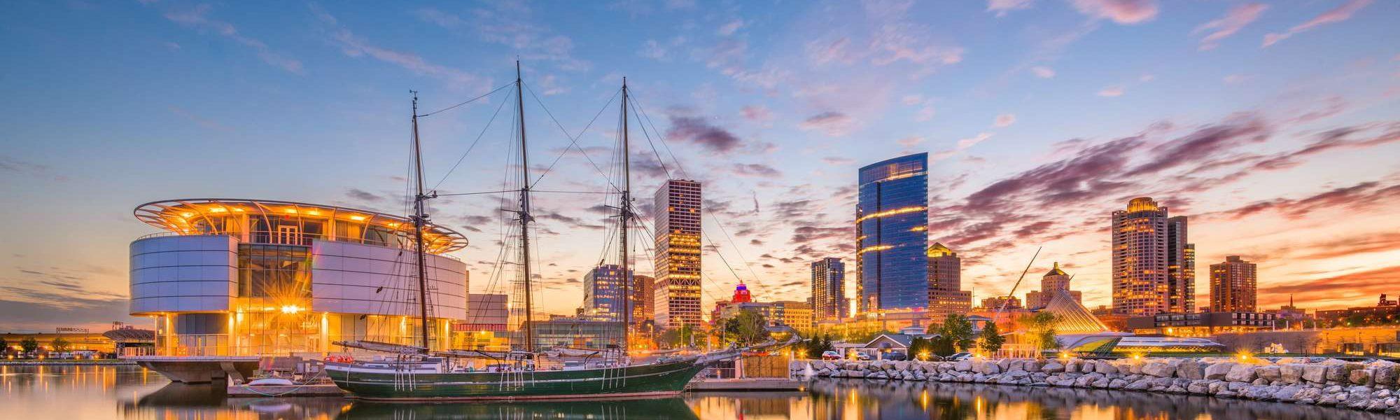 Milwaukee skyline at twilight near Lake Michigan