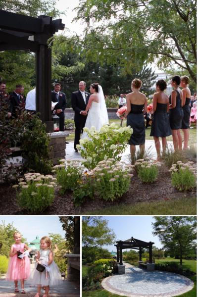 Wedding ceremony at Congdon Gardens in Delavan, WI